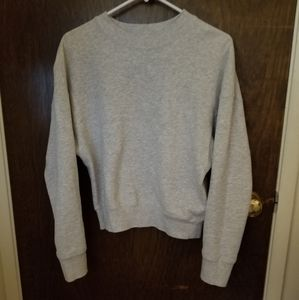 grey pullover sweatshirt